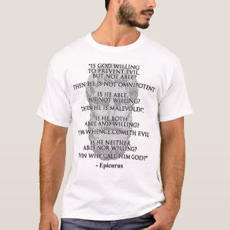 A camisa dos homens das citações de Epicurus