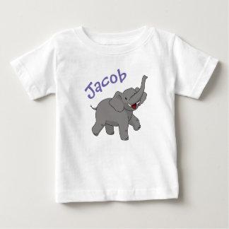 A camisa elefante feliz da criança personalizada