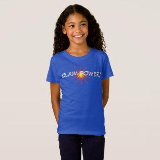 A camiseta da menina do poder da reivindicação
