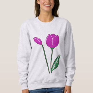 A camisola das mulheres roxas das tulipas t-shirts