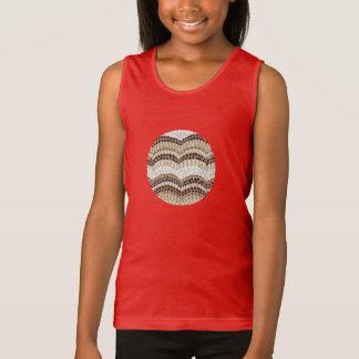 A camisola de alças das meninas bege do mosaico t-shirt