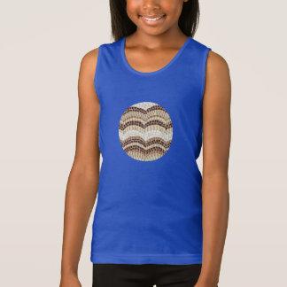 A camisola de alças das meninas bege do mosaico tshirt