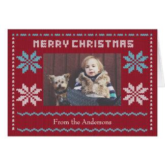 A camisola feita malha do Natal inspirou o cartão
