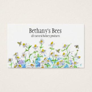 A camomila do cartão de visita da abelha do mel
