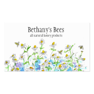 A camomila do cartão de visita da abelha do mel fl