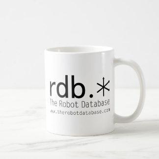 A caneca de café da base de dados do robô