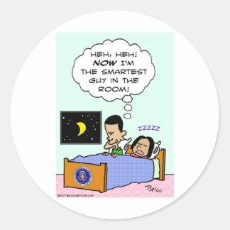 a cara a mais esperta de obama na cama da sala adesivo redondo