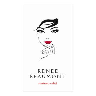 A cara da mulher com branco elegante dos lábios cartão de visita