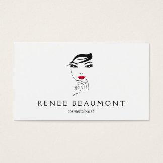 A cara da mulher com branco elegante dos lábios cartão de visitas
