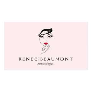 A cara da mulher com rosa elegante dos lábios cartão de visita