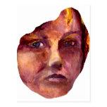 A cara da mulher emocional cartao postal