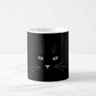 A cara do gato com olhos, nariz e suiças caneca de café
