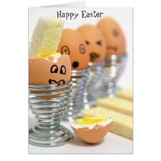 A cara engraçada Eggs o cartão de felz pascoa