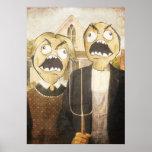 A cara Meme da raiva enfrenta a pintura elegante c Pôsteres