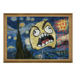 A cara Meme da raiva enfrenta a pintura elegante c Poster