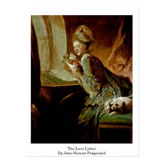 A carta de amor por Jean-Honore Fragonard Cartão Postal