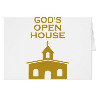 A casa aberta do deus cartão comemorativo
