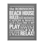 A casa de praia personalizada da família ordena o  impressão de canvas esticada