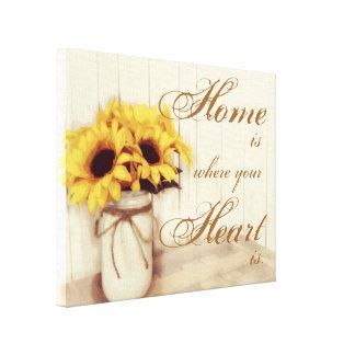 A casa é o lugar onde canvas do frasco de pedreiro impressão em tela canvas