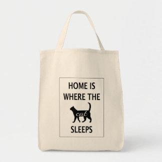 A casa é o lugar onde o gato dorme sacola tote de mercado