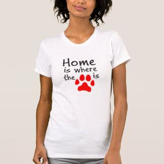 A casa é o lugar onde o impressão da pata está t-shirt