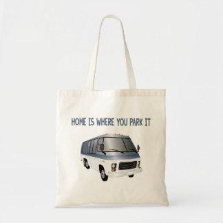 A casa é o lugar onde você a estaciona bolsa tote
