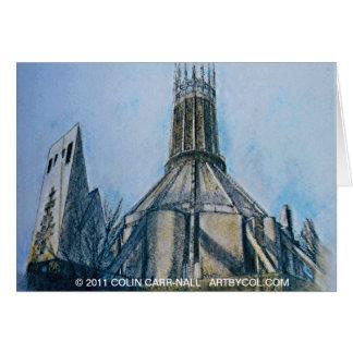 A catedral católica Liverpool Colin Carr-Nall Cartão Comemorativo