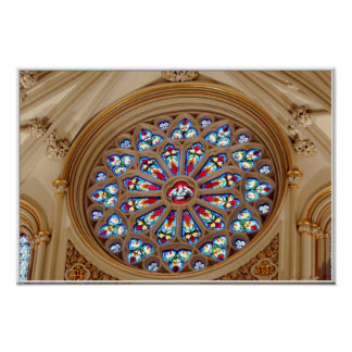 A catedral de St Joseph - janela de vitral Pôster