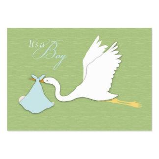 A cegonha entrega cartões de agradecimentos do cartão de visita grande