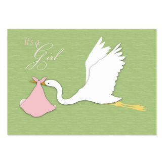 A cegonha entrega o cartão do lembrete da menina cartoes de visita