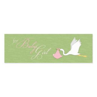 A cegonha entrega o Tag magro do presente da Cartão De Visita Skinny