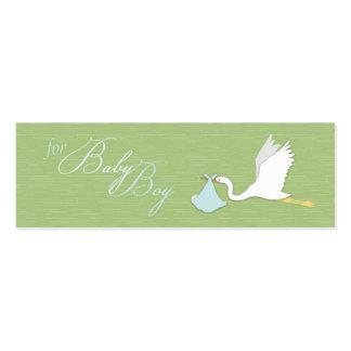 A cegonha entrega o Tag magro do presente do menin Cartões De Visitas