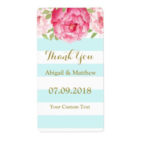 A cerceta listra etiquetas de casamento florais da etiqueta de frete