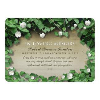 A cerimonia comemorativa floral branca da videira convite 12.7 x 17.78cm