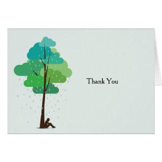 A chuva em meu coração dobrou o obrigado do cartão de nota