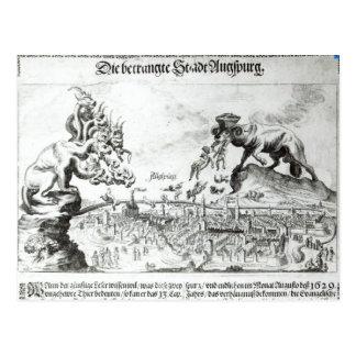 A cidade de Augsburg forçou para aceitar o católic Cartões Postais