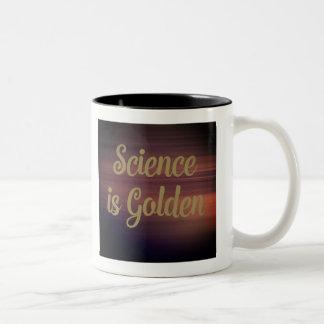A ciência é dourada caneca de café em dois tons