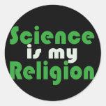 A ciência é minha religião adesivo em formato redondo