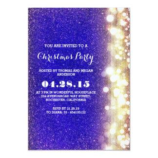 a cintilação ilumina a festa de Natal do azul e do Convite 12.7 X 17.78cm