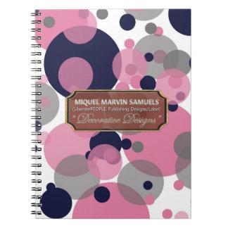A cinza cor-de-rosa azul borbulha caderno moderno
