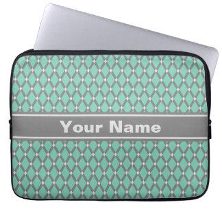 A cinza verde dos diamantes do Lucite molda o saco Capa Para Laptop