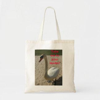 A cisne visita a terra bolsa de lona