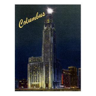 A citadela no cartão do vintage da noite