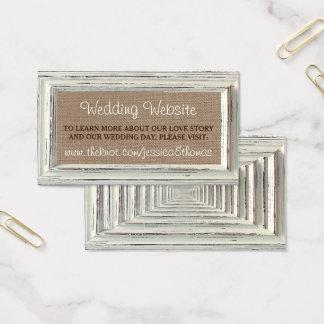 A coleção branca rústica do casamento do quadro & cartão de visitas