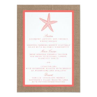 A coleção coral do casamento de praia de convite 11.30 x 15.87cm