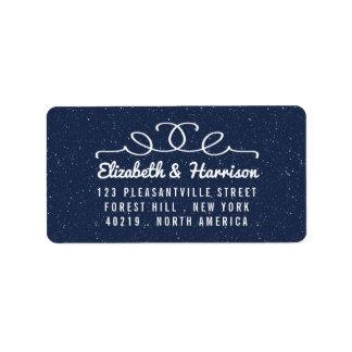 A coleção do casamento da noite estrelado etiqueta de endereço