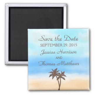 A coleção do casamento de praia da aguarela ímã quadrado