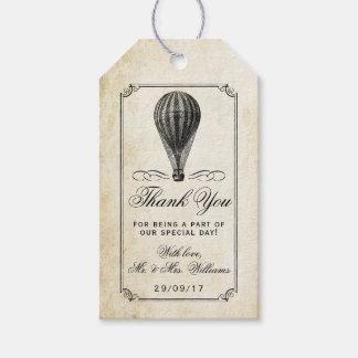 A coleção do casamento do balão de ar quente do etiqueta para presente
