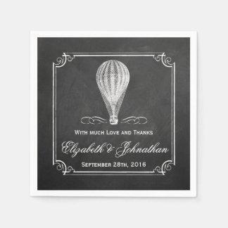 A coleção do casamento do balão de ar quente do guardanapo de papel