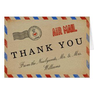 A coleção do casamento do correio aéreo do vintage cartão de nota